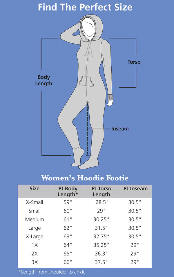 Measurements for Chocolate Hoodie-Footie image number 4