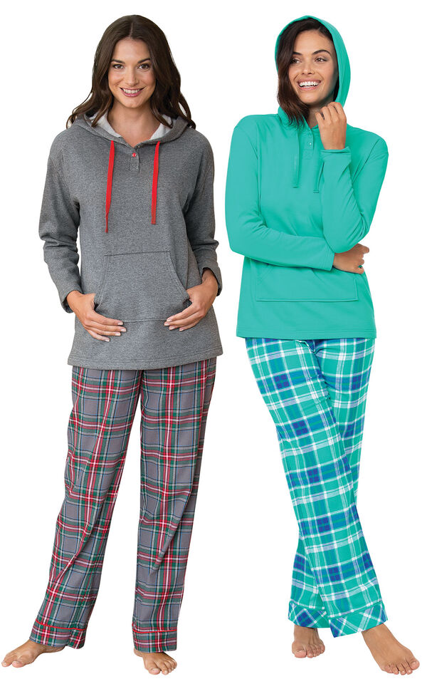 Wintergreen Plaid and Gray Plaid Hooded PJs Gift Set image number 0