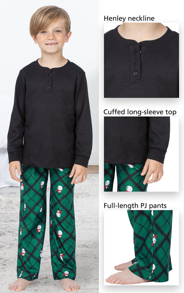 Black and Green Snowman Argyle Henley PJ for Kids have a Henley neckline, cuffed long-sleeve top, full-length PJ pants image number 3