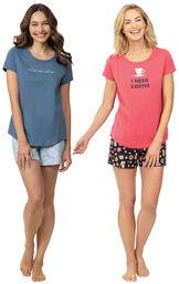 """Models wearing """"Let Me Sleep"""" Short Set and Coffee Lover Short Set image number 0"""