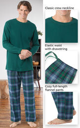 Close-ups of the features of Heritage Plaid Thermal-Top Men's Pajamas which include a classic crew neckline, elastic waist with drawstring and cozy full-length flannel pants image number 3