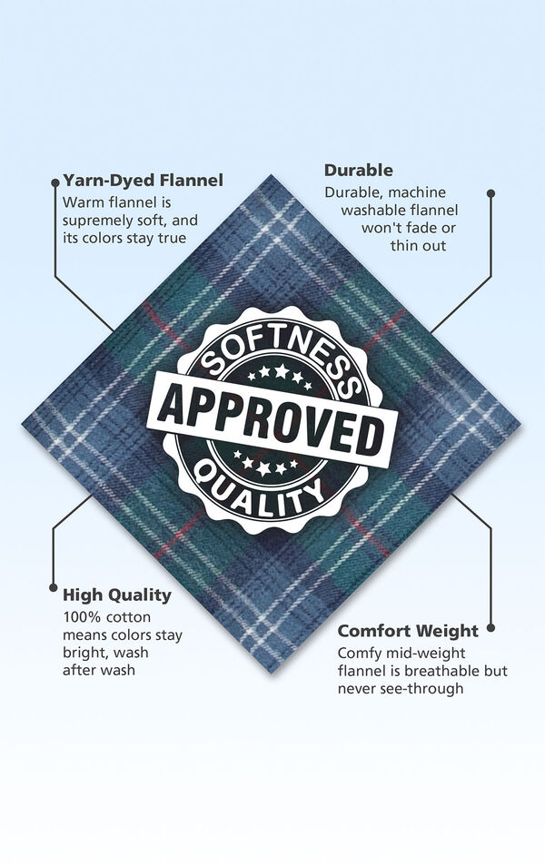 Green and Blue Plaid fabric swatch with the following copy: Yarn-Dyed Flannel is supremely soft. Machine washable flannel won't thin out. 100% cotton means colors stay bright. Comfy mid-weight flannel is breathable but never see-through. image number 4