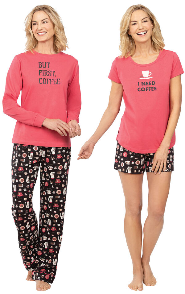 Models wearing Coffee Lover Pajamas and Coffee Lover Short Set. image number 0