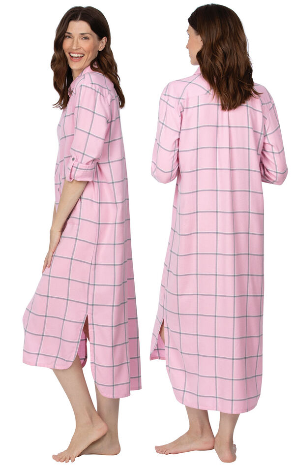 Model wearing Light Pink and Gray Plaid Gown for Women, facing away from the camera and then to the side image number 1