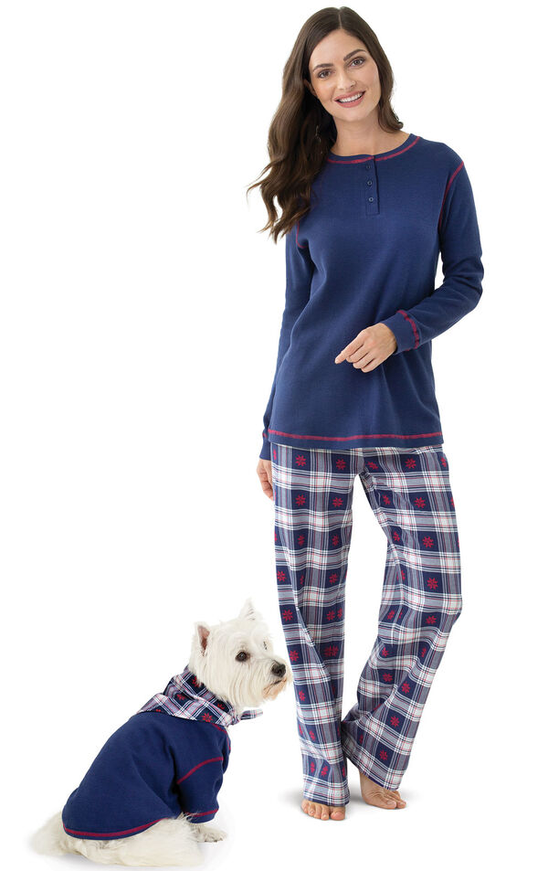 Models wearing Dark Blue Snowflake Plaid Thermal Top PJ for Pets and Owners image number 0