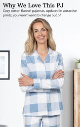 Blue Check Flannel Button-Front PJ for Women image number 3