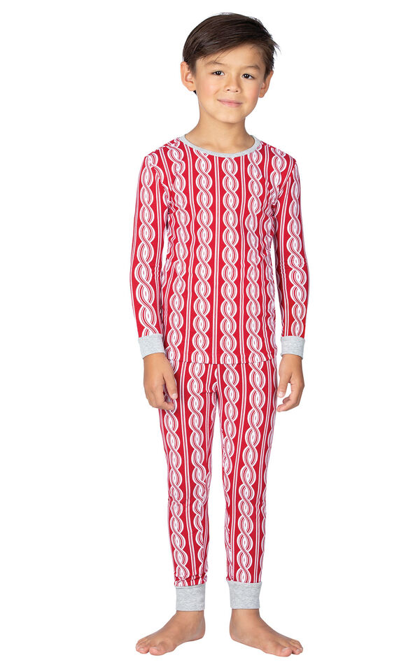 Model wearing Red and White Peppermint Twist PJ for Kids image number 0