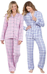 Models wearing World's Softest Flannel Boyfriend Pajamas - Lavender Plaid and World's Softest Flannel Boyfriend Pajamas - Pink. image number 0