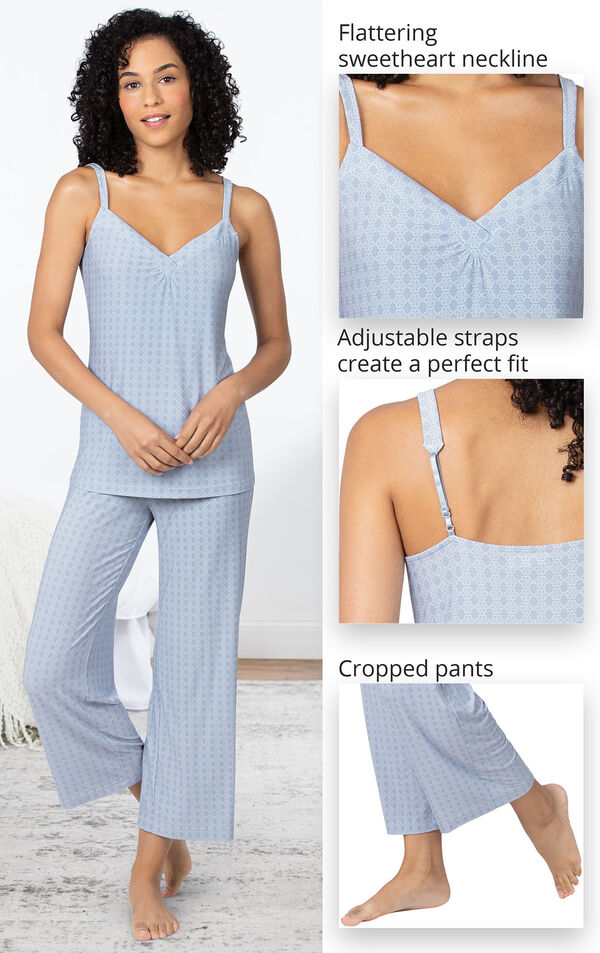 Close-ups of the features of Naturally Nude Capri PJs which include a flattering sweetheart neckline, adjustable straps and cropped pants image number 3