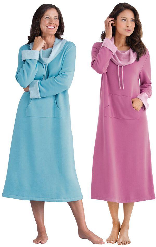 Models wearing World's Softest Nighty - Raspberry and World's Softest Nighty -Teal. image number 0