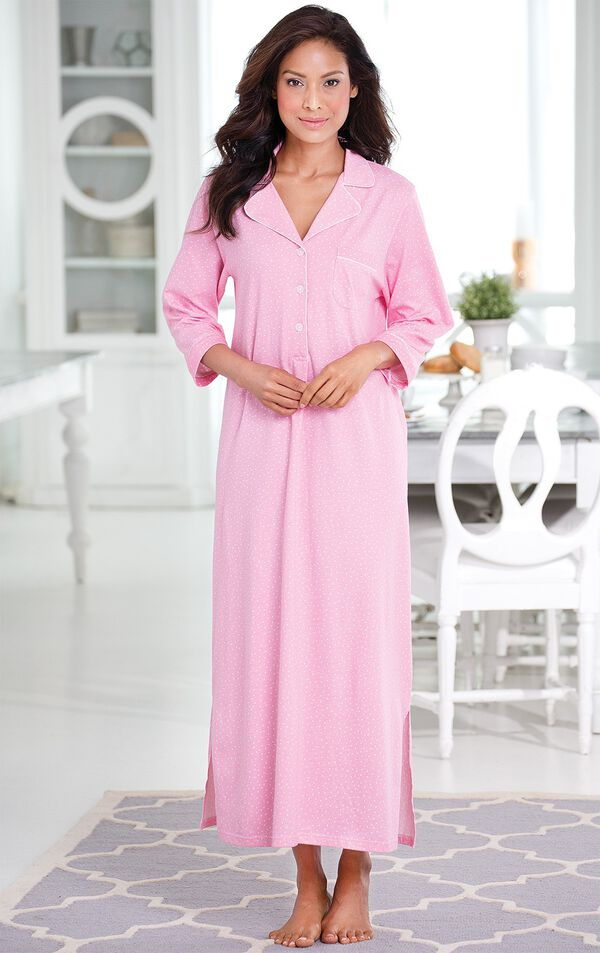 Model standing by kitchen table wearing Pink with White Polka Dots Oh-So-Soft Pin Dot Nighty - Pink image number 1