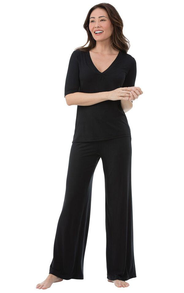 Model wearing Black Stretch Knit PJ for Women image number 0