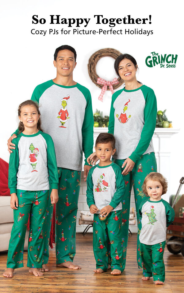 Family wearing Matching Grinch Family Pajamas with the following copy: So Happy Together! Cozy PJs for Picture-Perfect Holidays. image number 1