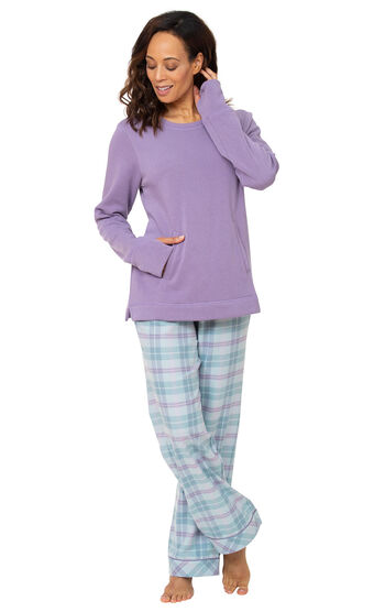 Addison Meadow Frosted Flannel Pajamas - Teal Plaid