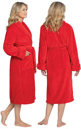 Model wearing Red Cable Embossed Fleece Wrap Robe for Women, facing away from the camera and then to the side image number 1