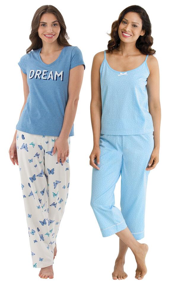 Models wearing Dream Pajamas and Oh-So-Soft Pin Dot Capri Pajamas - Blue.  image number 0