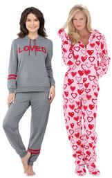 Models wearing ''Loved'' Hoodie Pajamas and Hoodie-Footie - Sweetheart Snuggle Fleece. image number 0