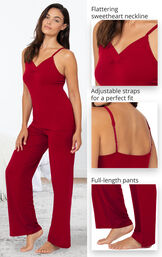 Naturally Nude Cami Pajamas feature a flattering sweetheart neckline, adjustable straps for a perfect fit and full-length pants image number 3