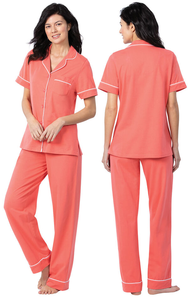 Model wearing Coral Solid Short Sleeve Boyfriend PJ, facing away from the camera and then facing to the side image number 1