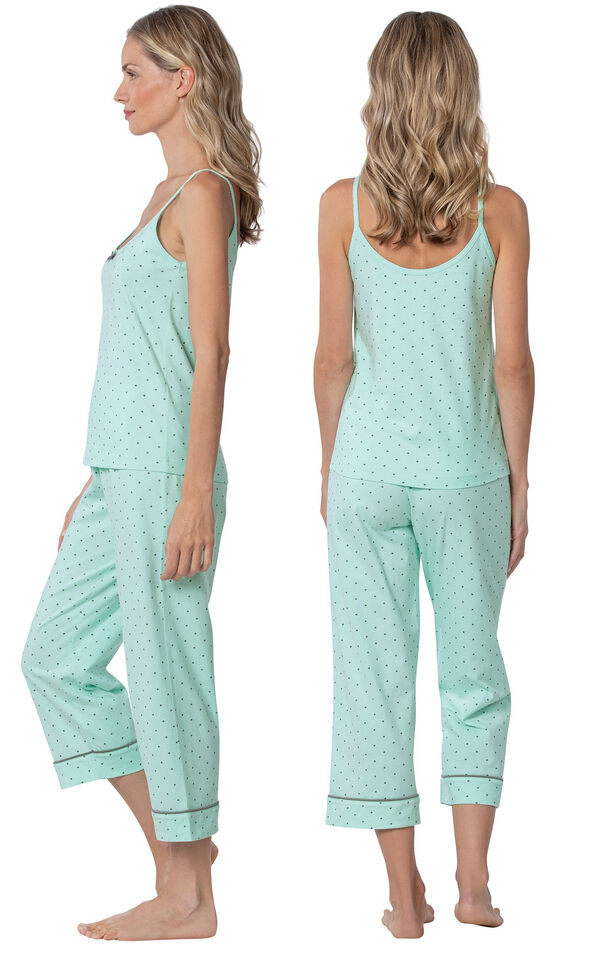 Model wearing Mint and Gray Polka Dot Cami PJ for Women, facing away from the camera and then to the side image number 1