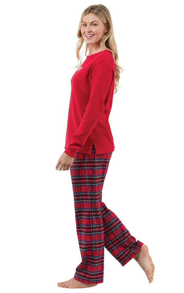 Model wearing Red Classic Plaid Thermal Top PJ with White Heart for Women, facing to the side image number 2