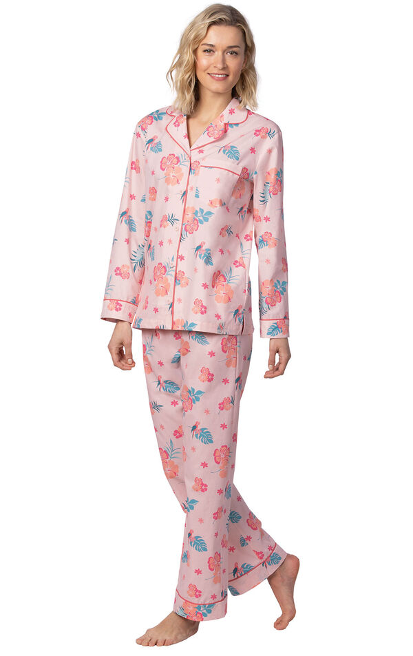 Model wearing Pink Margaritaville Button-Front PJ for Women image number 0