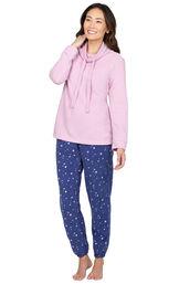 Blue Stars - Pink Top Fleece Jogger PJ for Women image number 0