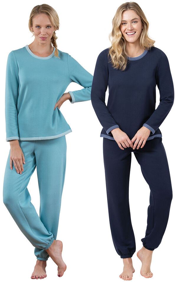 Navy and Teal World's Softest Jogger PJs image number 0