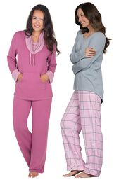 Models wearing World's Softest Flannel Pajama Set - Pink and World's Softest Pajamas - Raspberry. image number 0