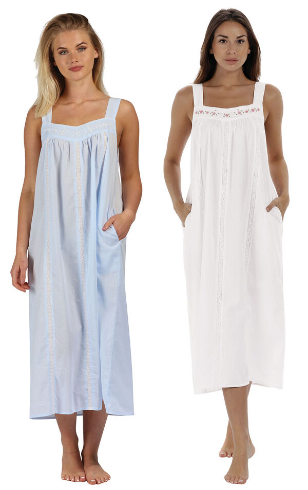 Models wearing Meghan Nightgown - Blue and Meghan Nightgown  - White image number 0