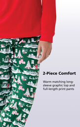 2-Piece Comfort - Warm matching long-sleeve graphic top and full-length print pants image number 4