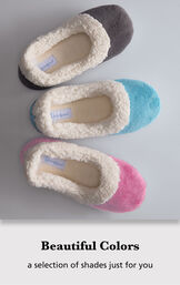Teal, Charcoal and Raspberry World's Softest Slippers with the following copy: Beautiful colors - a selection of shades just for you image number 3