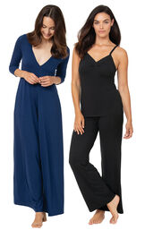 Navy Pajama Jumpsuit and Black Naturally Nude Cami PJs image number 0