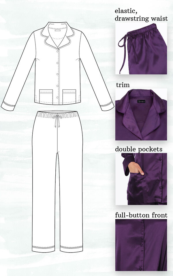 A technical drawing of Purple Satin PJs highlighting the following features - elastic, drawstring waist, trim, double pockets and full-button front image number 1