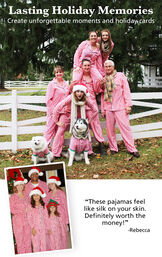 """Customer Photos of Candy Cane Fleece Matching Family Pajamas. Headline: Lasting Holiday Memories, Create unforgettable moments and holiday cards. Customer quote: """"These pajamas feel like silk on your skin. Definitely worth the money!"""" - Rebecca image number 2"""