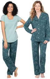 Models wearing Short-Sleeve Jersey Pajamas - Green Floral Print and Jersey Boyfriend Pajamas - Green Floral Print image number 0