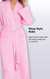 Close-up of Pink Pin Dot Wrap Style Robe; open-front robe with tie waist wraps you in warmth. image number 1