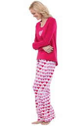 Model wearing Be Mine Heart Print PJ for Women, facing to the side image number 2
