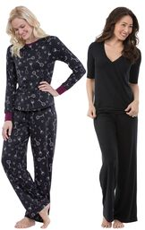 Models wearing Naturally Nude Pajamas - Solid Black and Wine Down Pajamas.