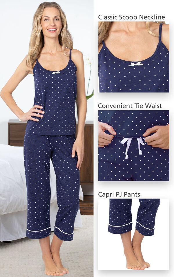 Close-ups of Navy and White Polka-Dot Cami and Capri Pajamas classic scoop neckline, convenient tie waist and Capri PJ Pants image number 3