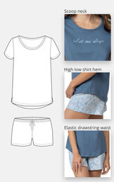 """Scoop neck tee with """"Let me sleep"""" text in cursive - high low shirt hem - elastic drawstring waist on shorts image number 3"""