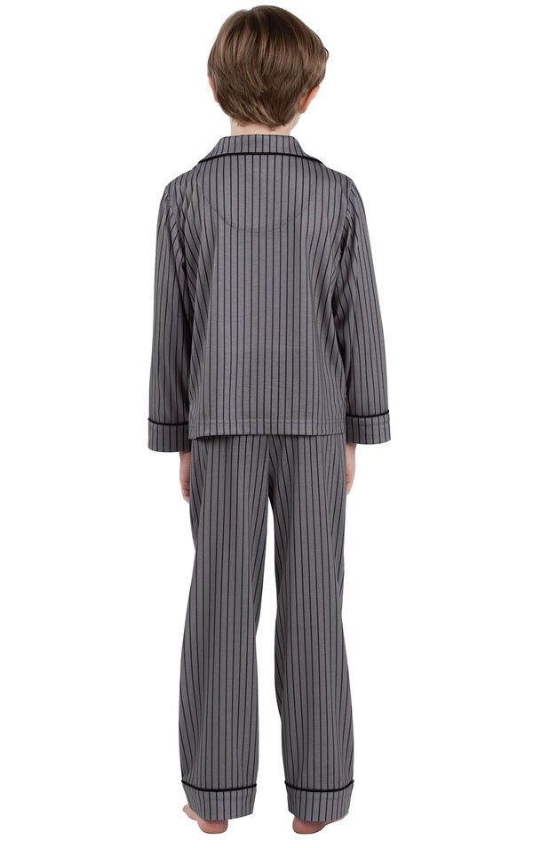 Model wearing Charcoal Gray and Black Stripe Button-Front PJ for Youth, facing away from the camera image number 1