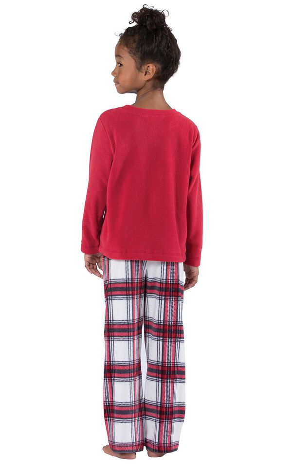 Model wearing Red and White Plaid Fleece PJ for Girls, facing away from the camera image number 1