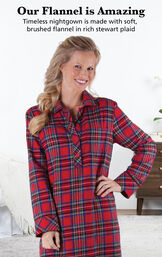 Model wearing Stewart Plaid Flannel Nighty by bed with the following copy:  Our Flannel is Amazing. Timeless nightgown is made with soft, brushed flannel in rich Stewart plaid. image number 2