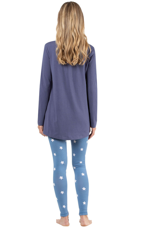 Model wearing Long Sleeve and Legging Pajamas - Navy Stars, facing away from the camera image number 1