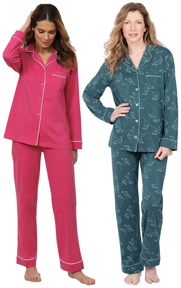Models wearing Jersey Boyfriend Pajamas - Green Floral Print and Solid Jersey Boyfriend Pajamas - Bold Pink image number 0