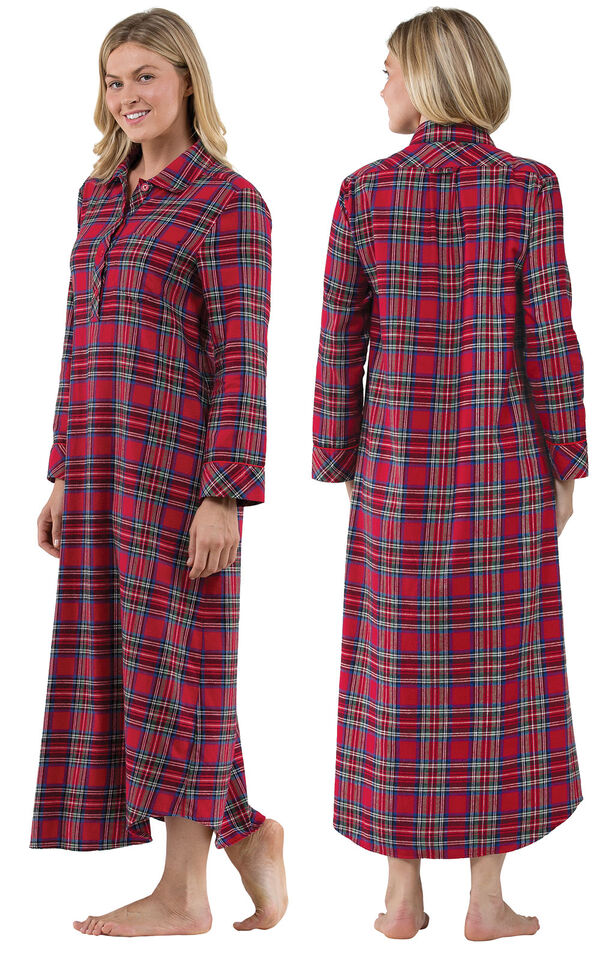 Model wearing Red Classic Plaid Gown for Women, facing away from the camera and then to the side image number 1