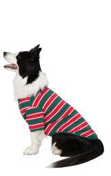 Dog wearing Red, Green and White Christmas Stripe Dog Pajamas image number 1