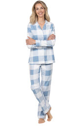 Blue Check Flannel Button-Front PJ for Women image number 0