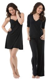 Models wearing Naturally Nude Chemise - Solid Black and Naturally Nude Pajamas - Solid Black.